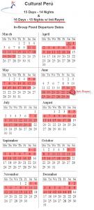 Cultural Peru 2012 Group Tour Calendar