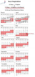 Inca Inspiration 2012 Group Tour Calendar