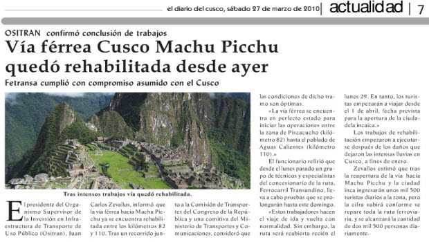Limited train service to Machu Picchu set to resume today, but expect some wrinkles…