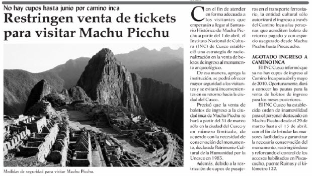 Peru's INC says it will limit sale of Machu Picchu tickets when rail service resumes