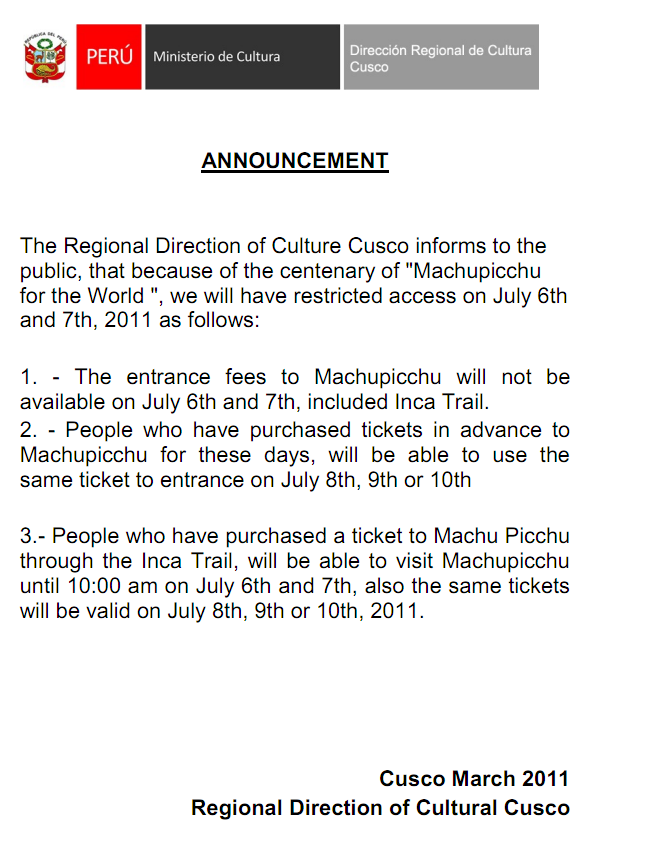 Machu Picchu will be closed July 6 & 7, 2011 for centennial celebrations