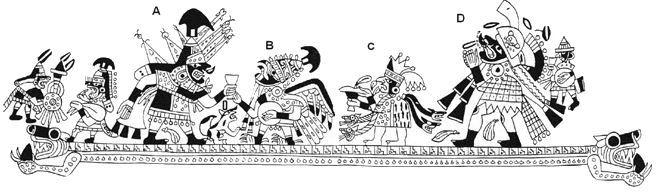 Moche iconography: Personajes A, B, C & D