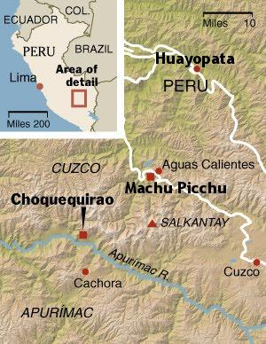Map: Huayopata and Machu Picchu