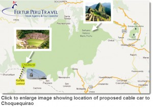 Click on image to enlarge map showing location of proposed cable car to Choquequirao...