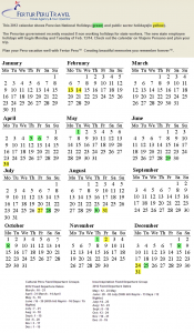 Click this image to enlarge 2012 Peru public calendar of holidays