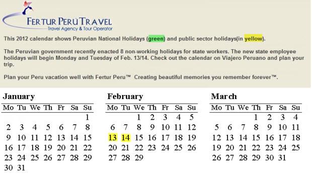 Fertur 2012 Travel Calendars