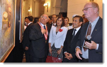 President Ollanta Humala attends the inauguration Ricardo Florez exhibit, featuring dozens of fakes