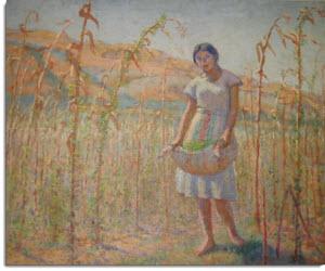 La Campesina Sembrando (1934) painted by Ricardo Florez.