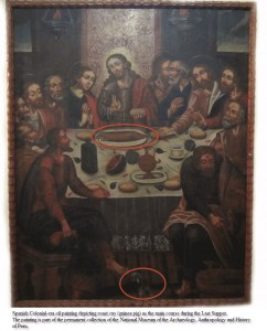 Last Supper Painting with Guinea Pig in Cusco