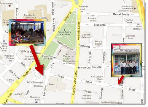 Chinchero Artesanal Expo in relation to Fertur Peru Travel's Miraflores office