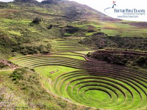 """Touring Moray during the low """"rainy"""" season means fewer fellow travelers and a verdant green view of the terraces."""