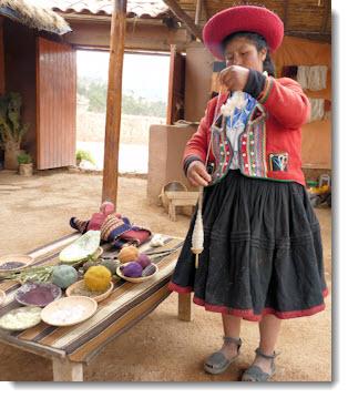 Spinning alpaca wool at the Centro Textil Andina — Kuska Away Yachak in Chinchero