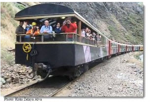 Lima-Huancayo high mountain train caboose