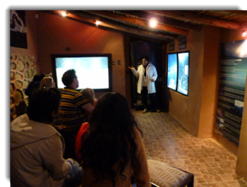 Ana Maria explaining the basis of the Inca cosmo vision at the Planetarium Cusco