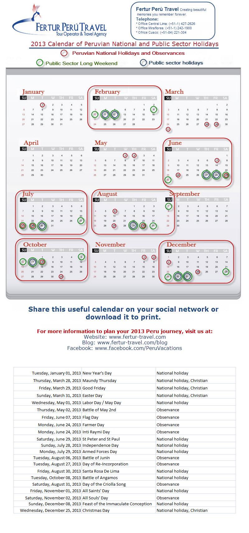 Calendar of 2013 Peru National and Public Sector Holidays