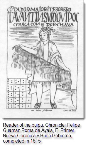 Reader of the quipu. Chronicler Felipe Guaman Poma de Ayala, El Primer Nueva Corónica y Buen Gobierno, completed in 1615