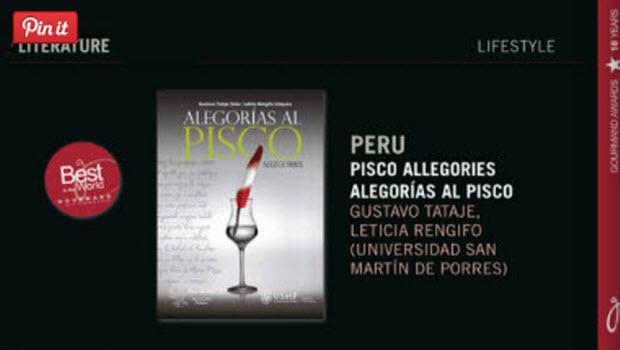 'Pisco Allegories' winner at International Gourmand Cookbook Awards in Paris