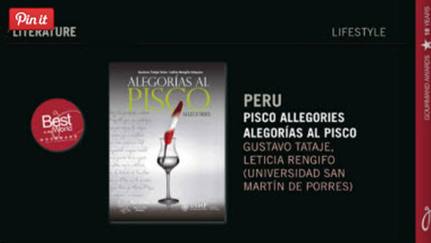 'Pisco Allegories' winner at International Gourmand Cookbook Awards in Paris