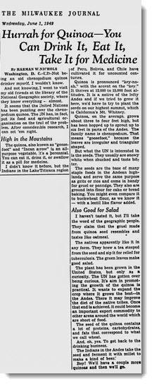 Hurray For Quinoa - June 1949
