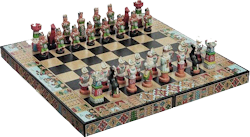 "Author Kim Macquarrie writes that Inca Atahualpa gave chess the Quechua name taptana, or ""surprise attack,"" because of the game's obvious parallels with military strategy."