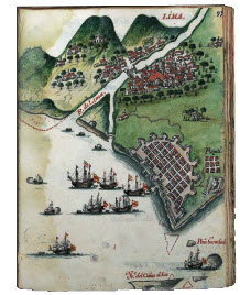 18th century depiction of Lima and Port of Callao