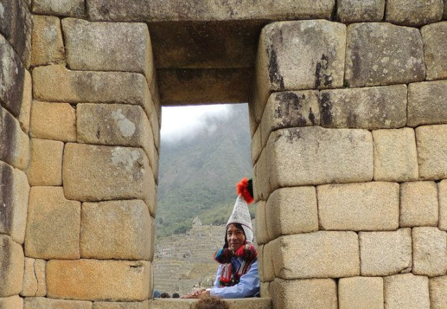 Taking a breather from the tour of Machu Picchu