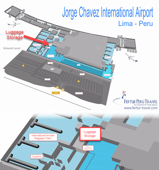 Graphic showing location of Left Luggage facility at Jorge Chavez International Airport in Lima, Peru