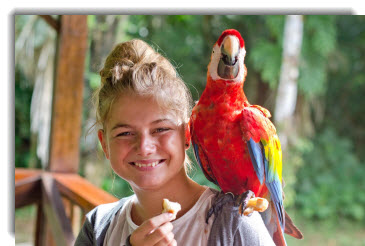 Amazon Rainforest tours - Refugio Lodge and the kid-macaw connection