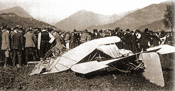 Jorge Chávez's plane after he successfully crossed the Alps, but lost control and crashed just 20 meters from the landing strip.