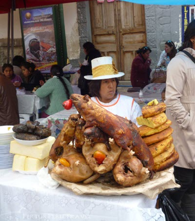 Tourists and locals flock to Plaza San Francisco for chiriuchu (cold plate), the traditional dish of the Octavo Festival