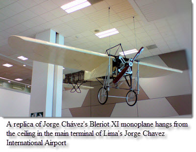 A replica of Jorge Chávez's Bleriot XI monoplane hangs from the ceiling in the main terminal of Lima's Jorge Chavez International Airport