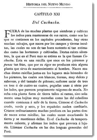 Barnabé Cobo, Historia del Nuevo Mundo, Chapter XXI: Cuchuchu