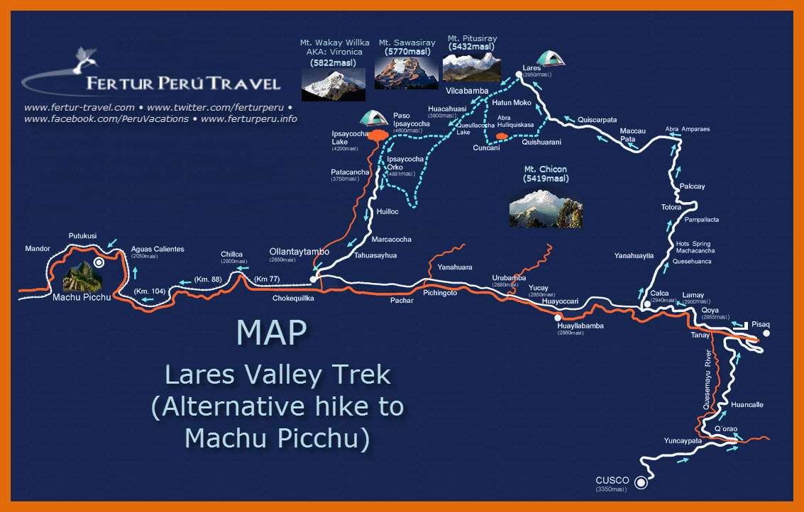 The Lares Valley trek takes you off the beaten path, over high Andean passes, past azure mountain lakes and beautiful waterfalls, through Andean villages, and culminates with a guided tour of Machu Picchu.