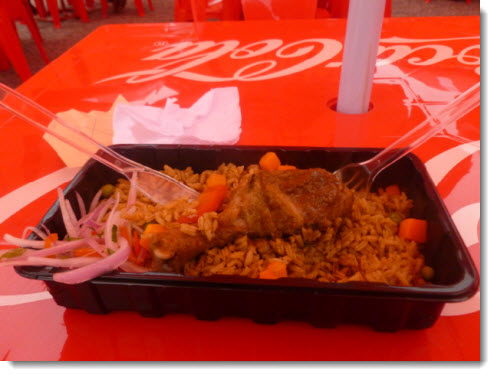 Peruvian chicken and rice served up at Mistura 2013