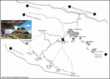 A map showing the location of Wakrapukara, past the Four Lakes district.  lies the Inca temple fortress of