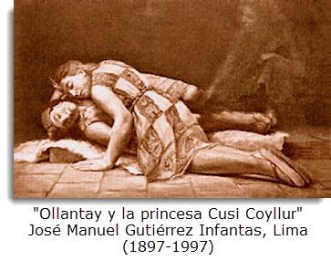 """""""Ollantay y la princesa Cusi Coyllur"""" José Manuel Gutiérrez Infantas, Lima (1897-1997)"""