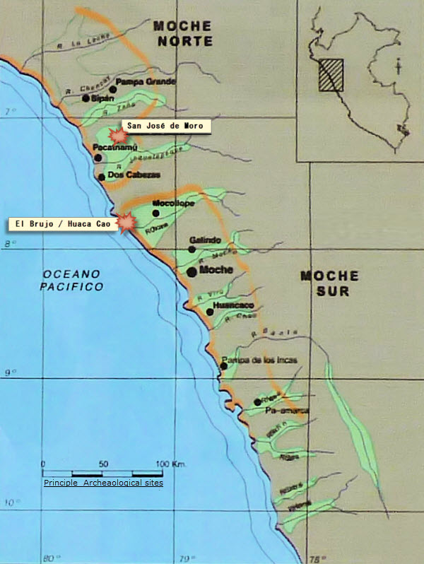 Map of Moche archaeology sites along Peru's Northern Coast, highlighting San Jose de moro and the Huaca Cao.