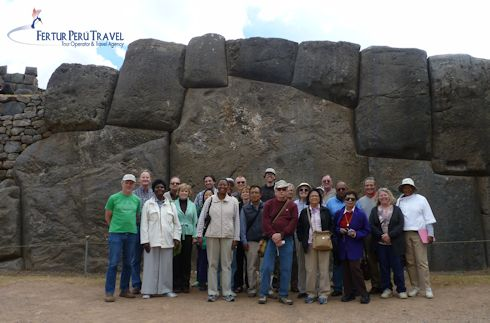 The Scrabble tour group visiting Sacsayhuaman. They pondered the titanic feat of megalithic Inca architecture ahead of the final round of the tournament.