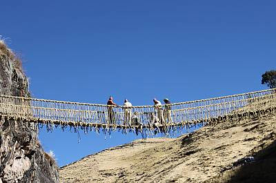 Bridge building craftsmen ~ © 2010 Peru National Institute of Culture