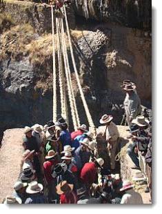 Rebuilding the Q'eswachaka bridge ~ © 2010 Peru National Institute of Culture
