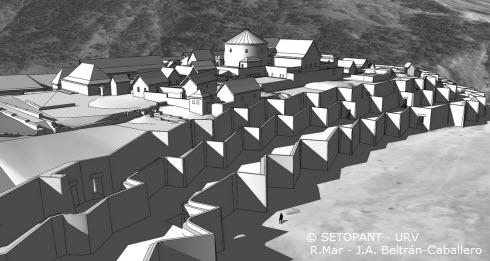Sacsahuaman: virtual reconstruction north facing three tiered wall view