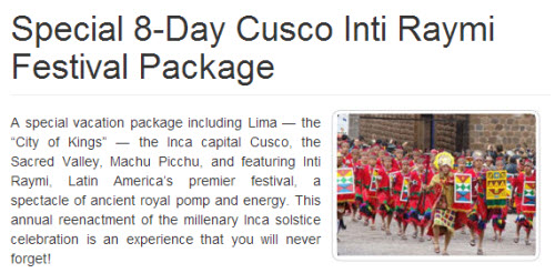 Inti Raymi Inca Solstice Festival Tour Package 2014