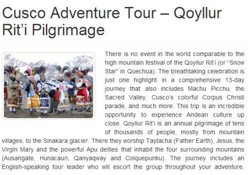Qollyur Riti group tour 2014