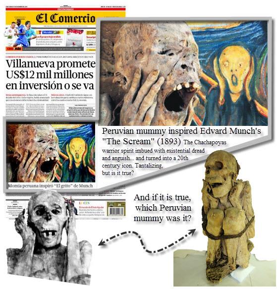 """Headline: Peruvian mummy inspired Edvard Munch's """"The Scream"""""""