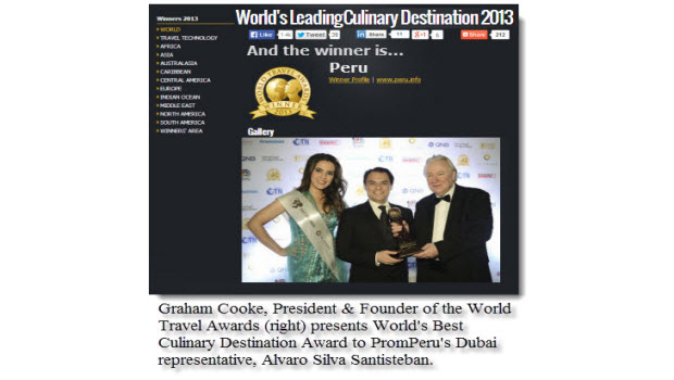 Peru wins World's Best Culinary Destination prize at World Travel Awards