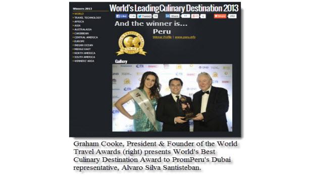 Peru wins World's Best Culinary Destination prize at World Travel Awards