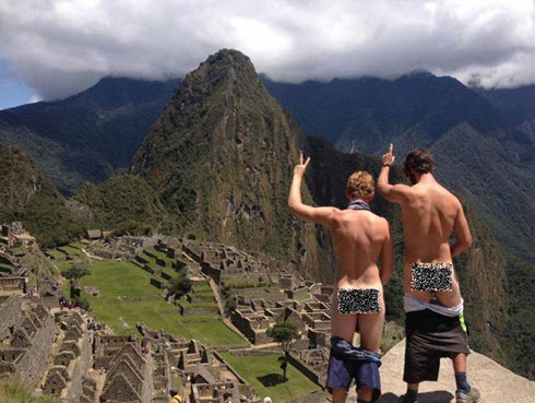 Peruvian news outlets and social media latched on to the photos of these buddies from Australia and New Zealand, who were promptly arrested for indecent exposure at Machu Picchu.