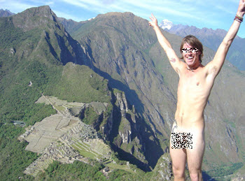 baring it all atop Huayna Picchu