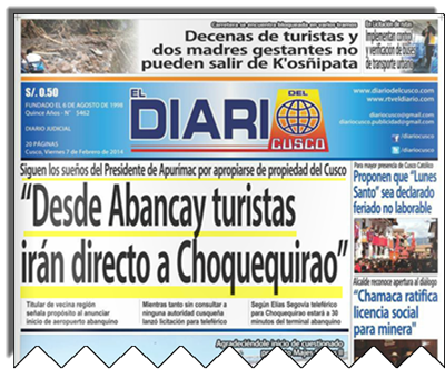 Diario del Cusco Choquequirao front page editorial
