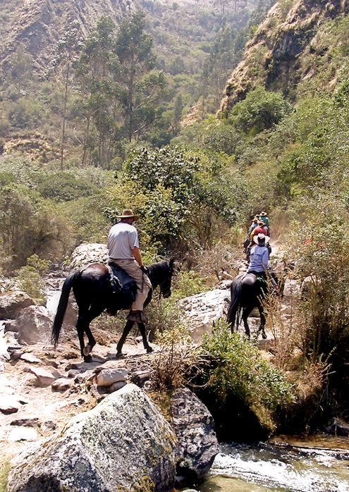 Ascending the mountain trail on horseback on the way to the Inca ruins of Choquequirao